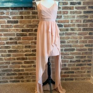 Pink Chiffon Formal High Low Evening Dress/Gown